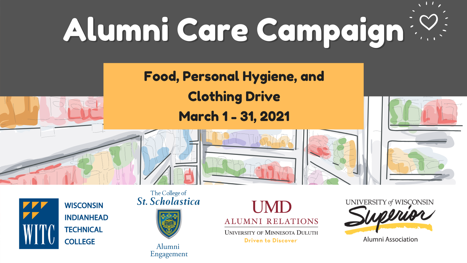 Alumni Care Campaign, Food Personal Hygiene and Clothing Drive on March 1st to the 31st